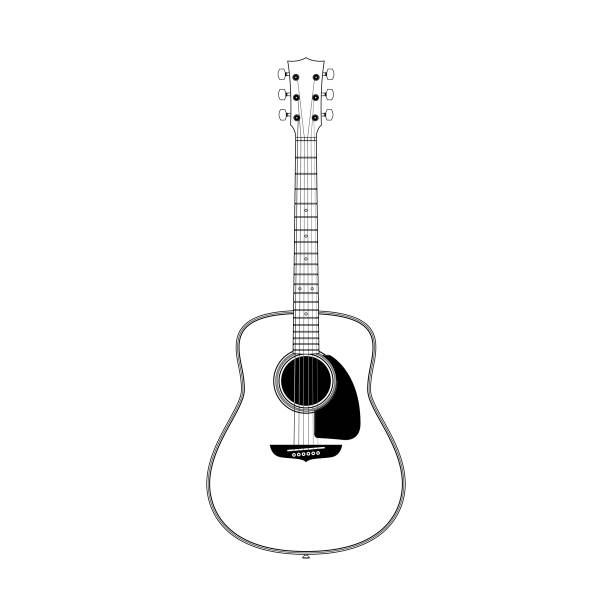 line art of round shoulder dreadnought guitar. - instrument strunowy stock illustrations