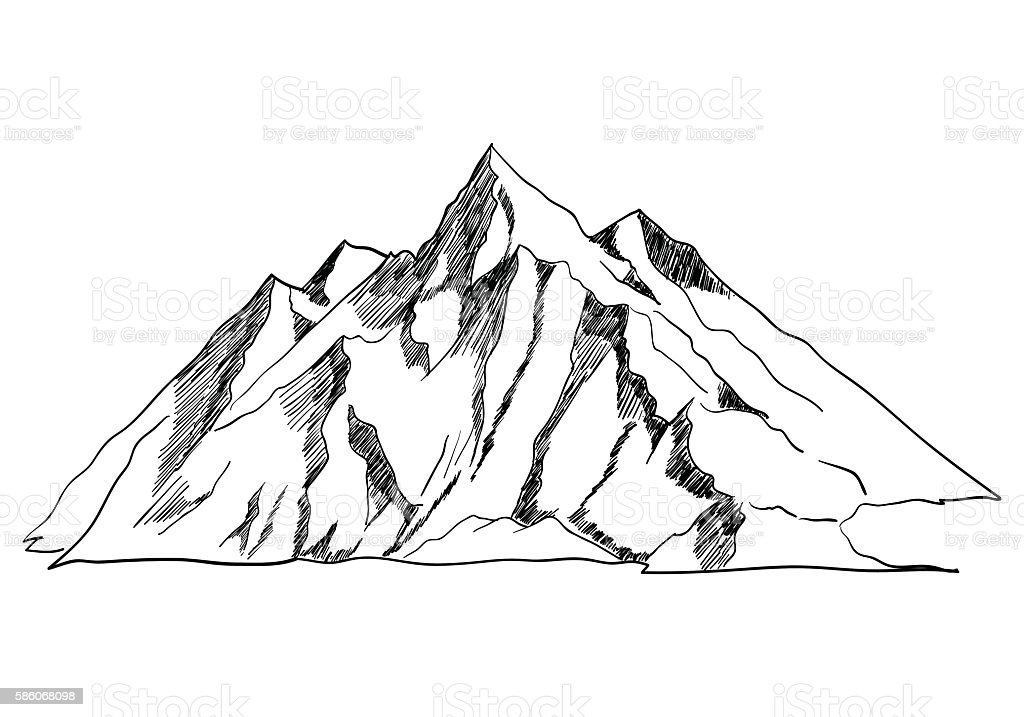 Line Art Mountains : Line art or sketch illustration of a mountain stock vector