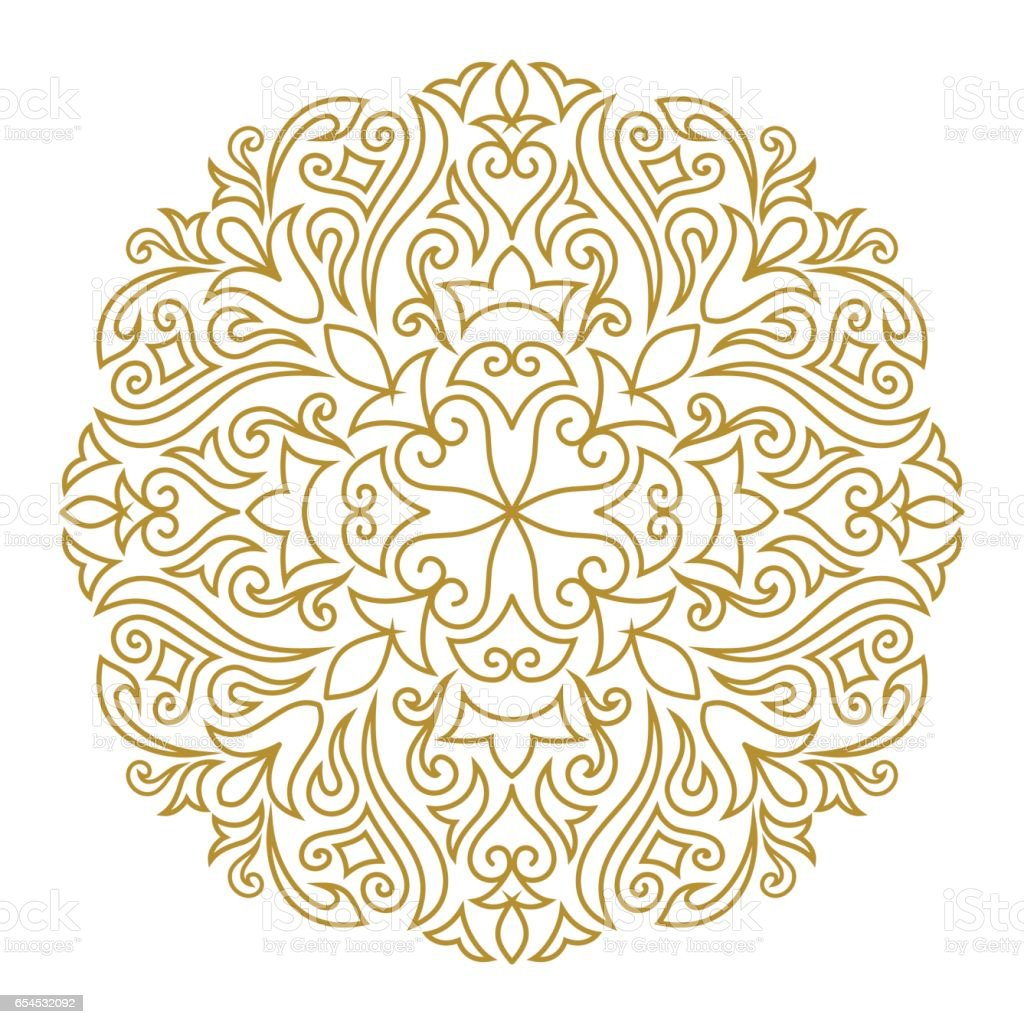 Line art ornament for design template. Vintage element in Eastern style. Mandala. Outline traditional circle pattern for wedding invitations, greeting cards, certificate. Vector golden decor. vector art illustration