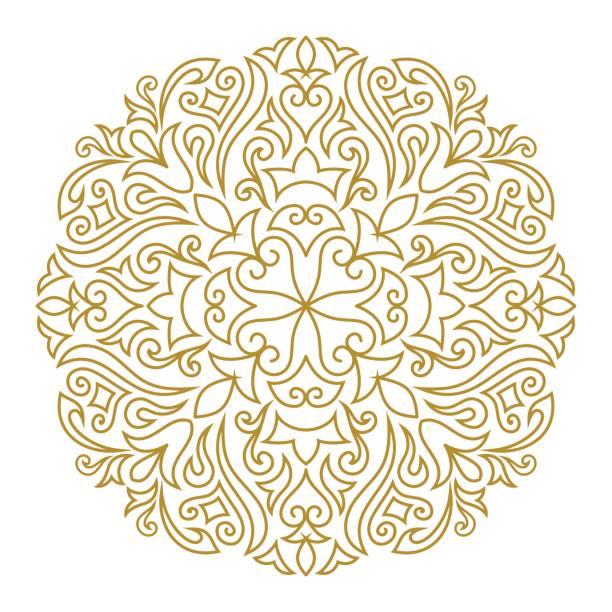 stockillustraties, clipart, cartoons en iconen met lijn kunst sieraad voor ontwerpsjabloon. vintage element in oost-stijl. mandala. overzicht traditionele cirkel patroon voor huwelijksuitnodigingen, wenskaarten, certificaat. vector gouden decor. - turkse cultuur