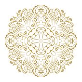 Line art ornament for design template. Vintage element in Eastern style. Mandala. Outline traditional circle pattern for wedding invitations, greeting cards, certificate. Vector golden decor.