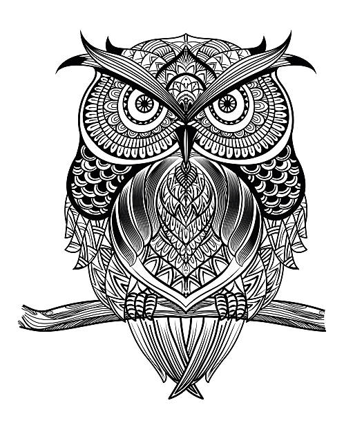 ilustraciones, imágenes clip art, dibujos animados e iconos de stock de arte de búho - 01 - tatuajes de animales