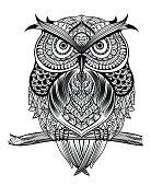 line art owl-01