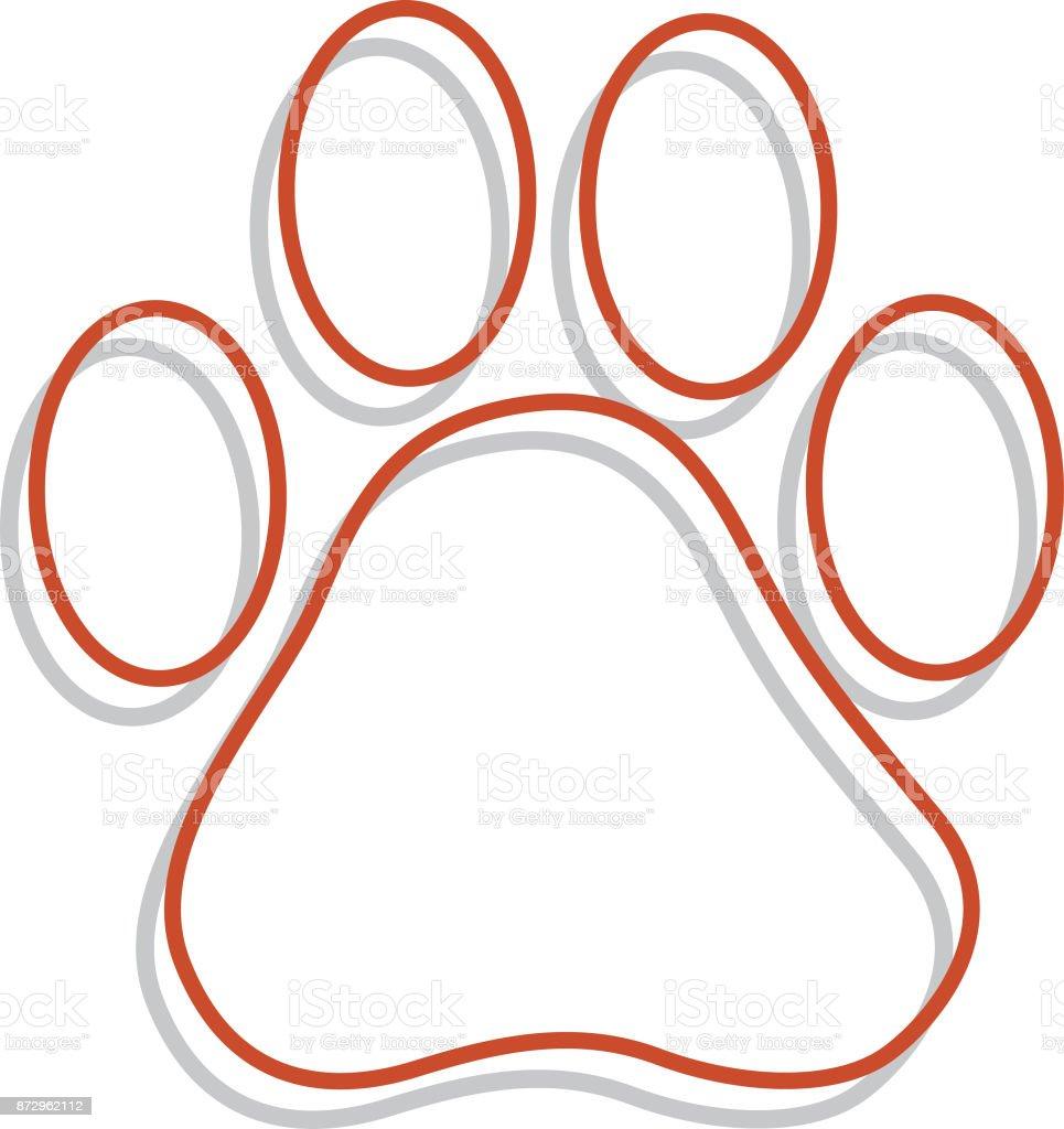 Line Art Paw print vector art illustration