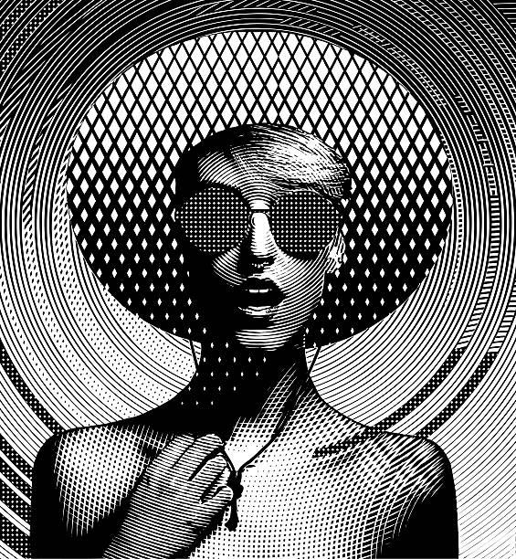 ilustraciones, imágenes clip art, dibujos animados e iconos de stock de arte lineal retrato de una mujer joven y un patrón de semitono - moda de mujer