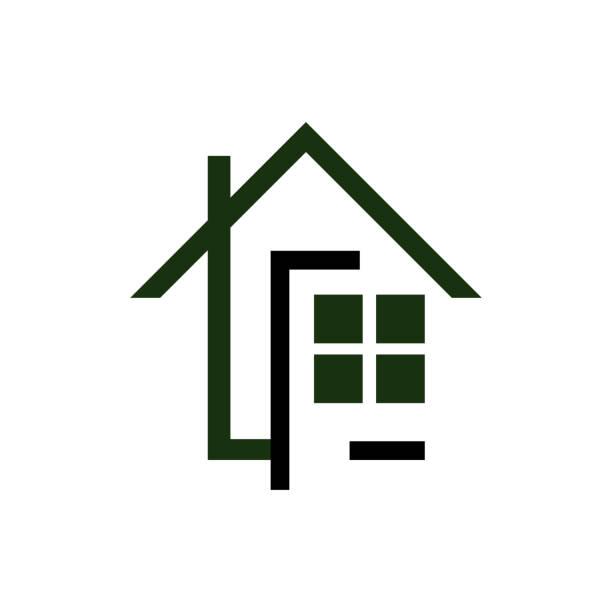 ilustrações de stock, clip art, desenhos animados e ícones de line art realty logo design vector symbol illustration - obras em casa janelas
