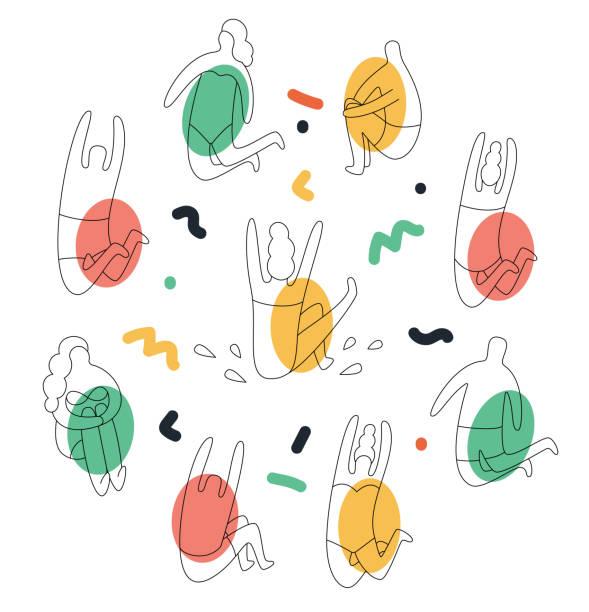 ilustrações de stock, clip art, desenhos animados e ícones de line art set. people on the beach, vector vacation illustration - jump pool, swimmer