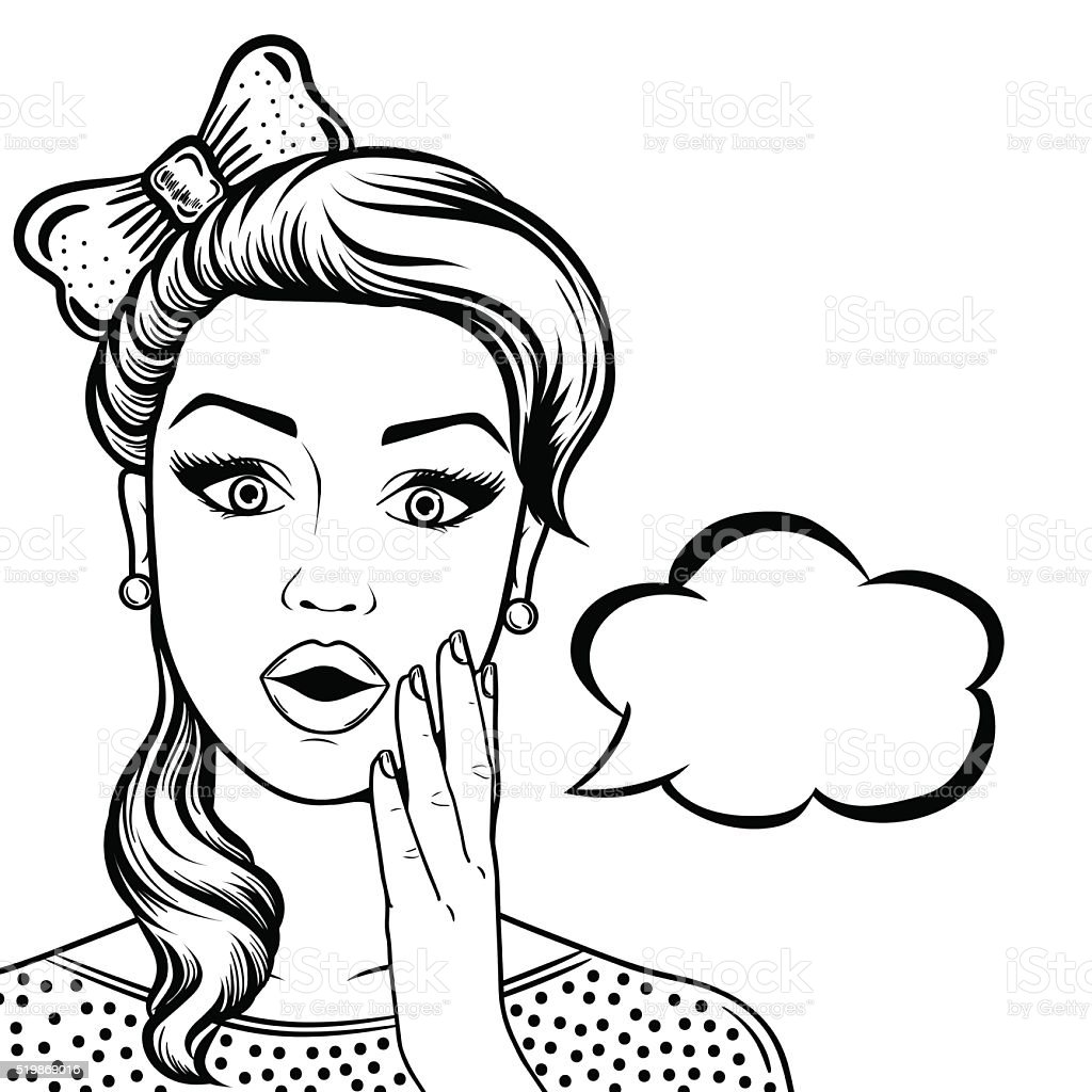 Line Drawing Of Female Face : Lineart schockierte frau gesicht mit offenem mund