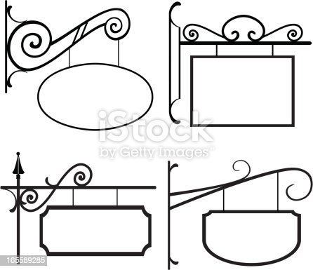 A collection of four line art signs with old-fashioned hangers.  Sign boards and connectors are separate pieces to allow you to easily add a new shape if desired.