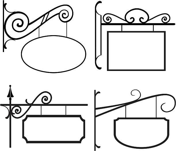 line art-znaki z kute żelazo wieszaki - wisieć stock illustrations