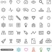 A set of a isolated simple green web design icons with different colour themes. Eps8. Other colour themes are available on layers.
