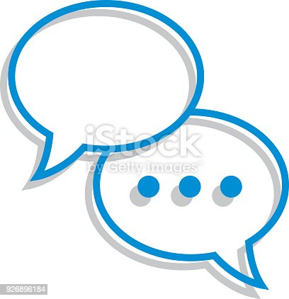 Vector illustration of two overlapping blue line art speech bubbles with gray shadows.