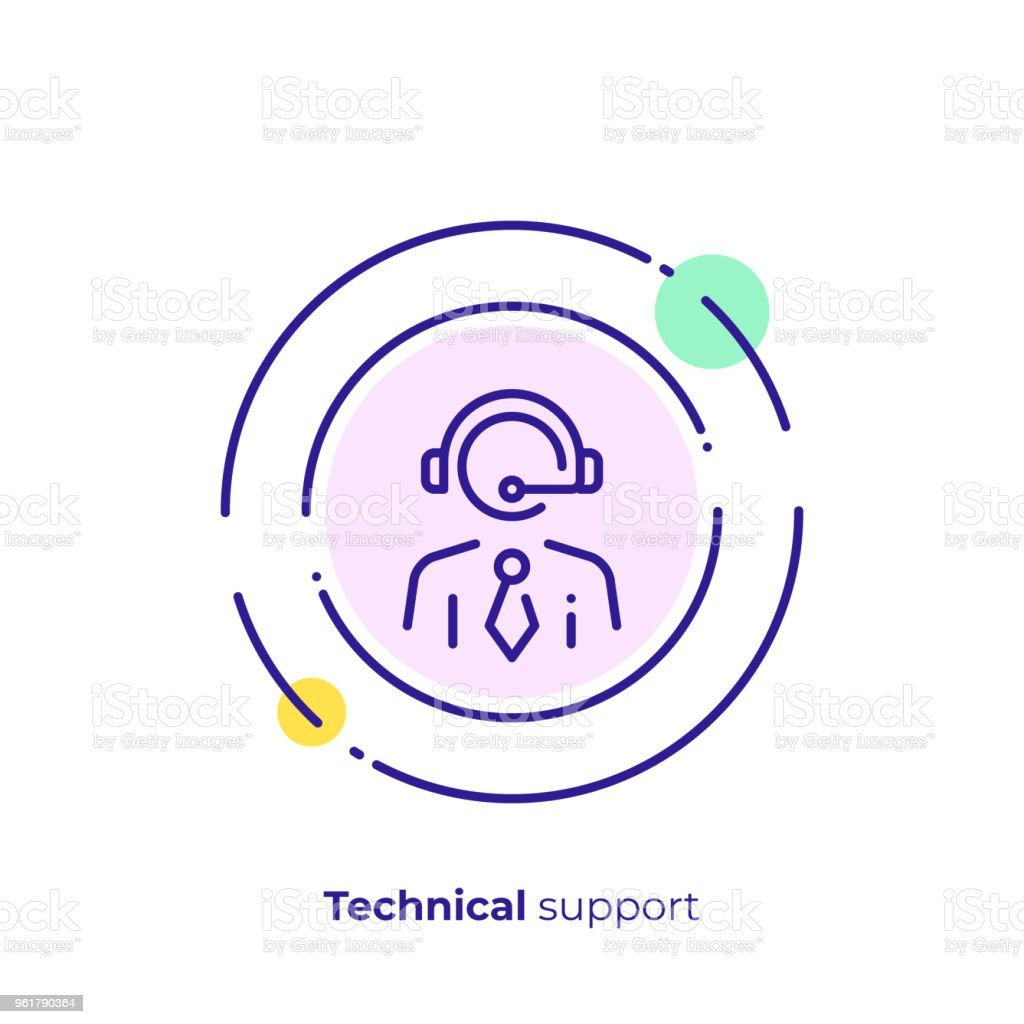 Line art stick support. Business assistance. Scalable vector icon in...