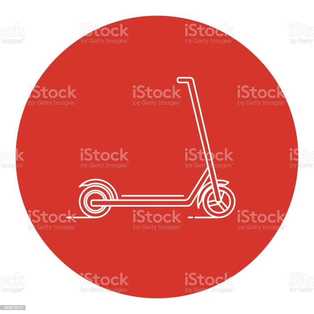 Line art style kick scooter icon vector art illustration