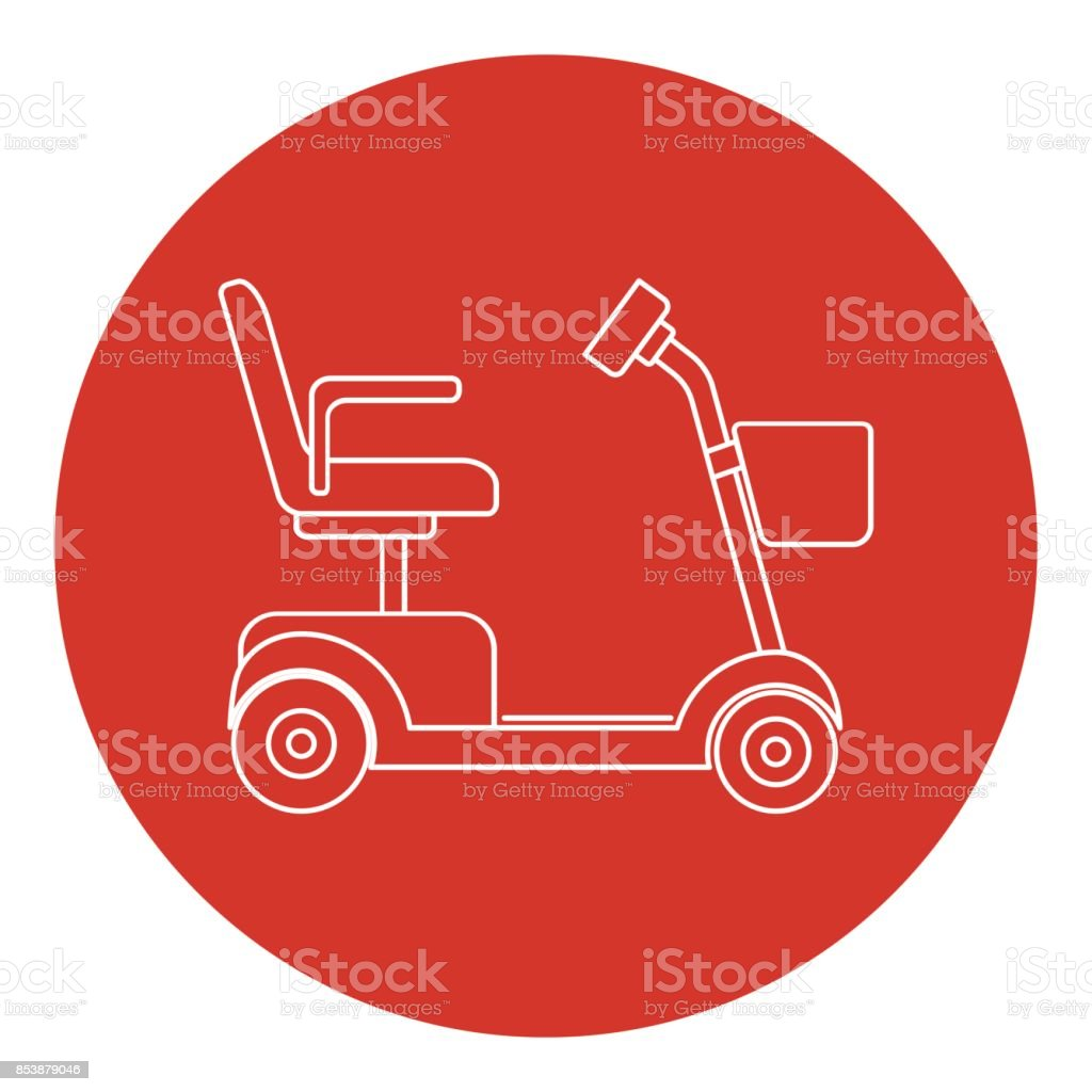 Line art style mobility scooter icon vector art illustration