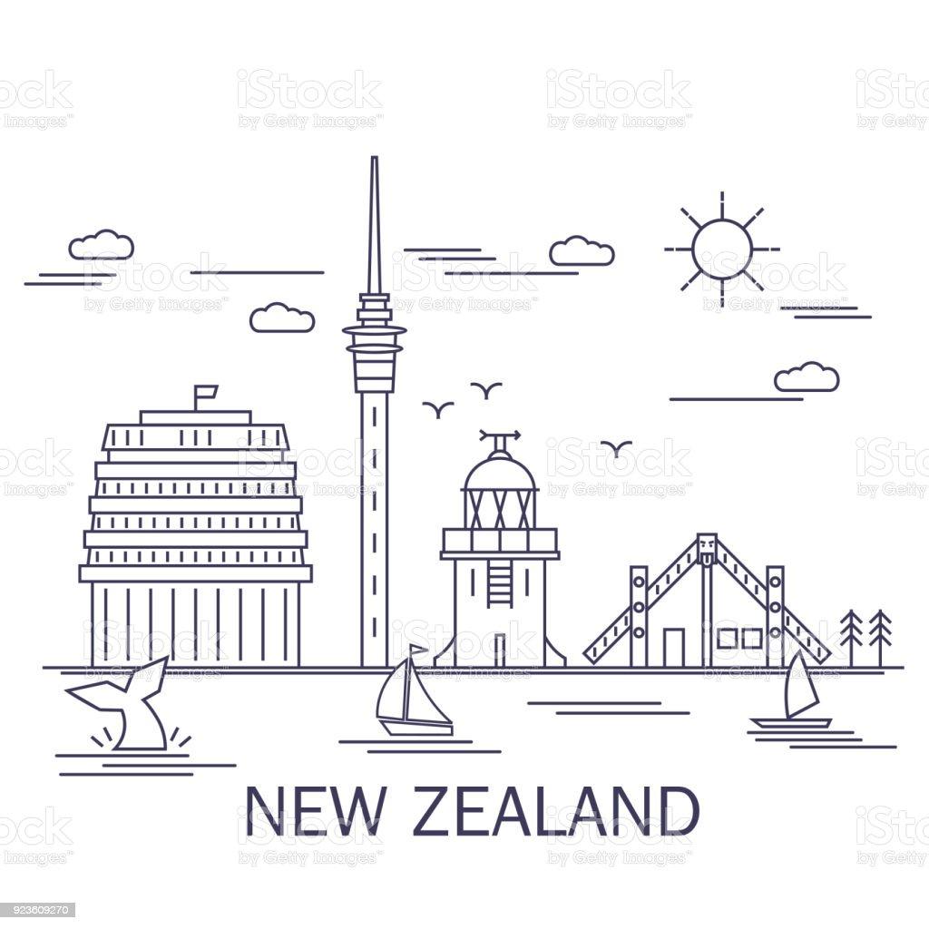 Line art style, New Zealand Landmarks vector art illustration
