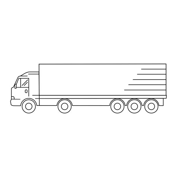 Line art transport icon, vector illustration - truck, minivan, waggon, trailer vector art illustration