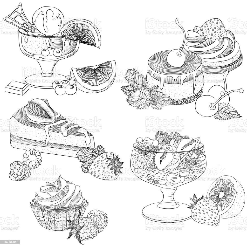 Line art various fruit desserts vector art illustration