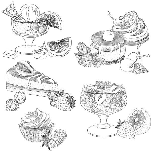 ilustrações, clipart, desenhos animados e ícones de arte vetorial várias sobremesas de frutas - fruit salad