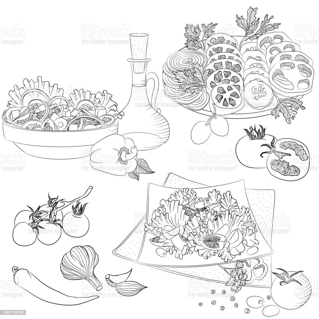 Dessin Au Trait Diverses Salades Vecteurs Libres De Droits