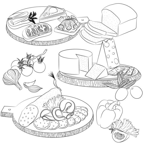 Line art various sandwiches and slicing Vector line art illustration with food. Set with various sandwiches and cheese and sausage slicing. Illustration for menu, cookbook or coloring book. Sketch isolated on white background cutting board stock illustrations
