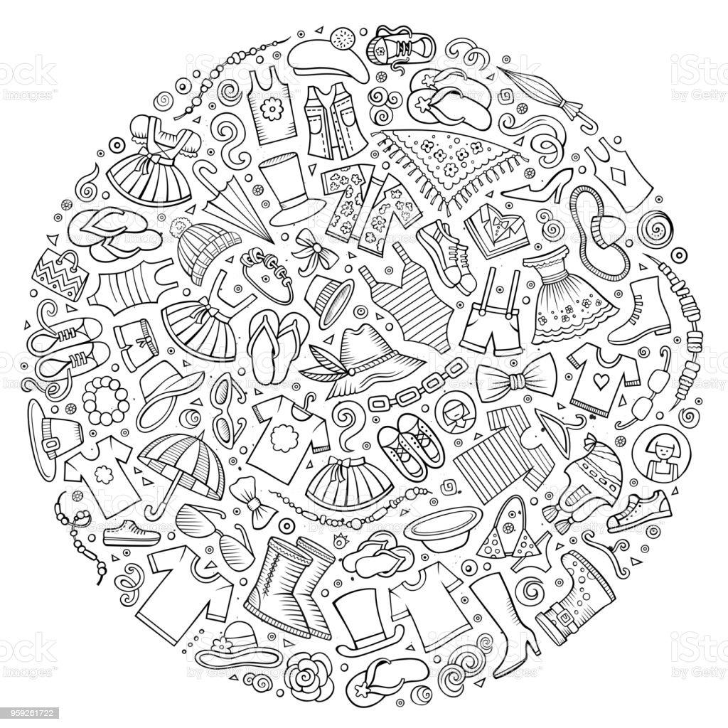 Line art vector hand drawn set of Clothes cartoon doodle objects vector art illustration