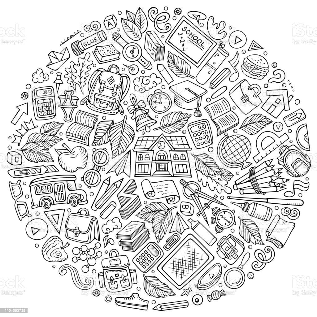 Line art vector hand drawn set of School cartoon doodle objects,...