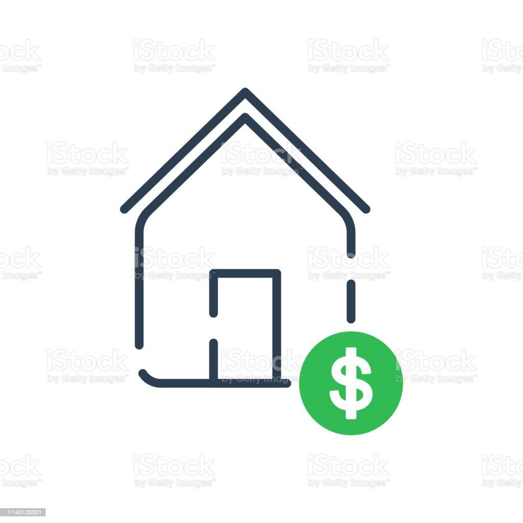 Icono de línea de arte vectorial. El símbolo de casa y dinero - ilustración de arte vectorial