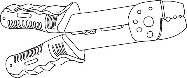 Line Art Vector Illustration Handtool Wire Stripper