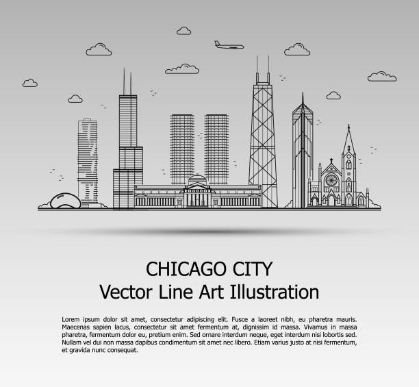 Line Art Vector Illustration of Modern Chicago City with Skyscrapers. Flat Line Graphic. Typographic Style Banner. The Most Famous Buildings Cityscape on Gray Background. Line Art Vector Illustration of Modern Chicago City with Skyscrapers. Flat Line Graphic. Typographic Style Banner. The Most Famous Buildings Cityscape on Gray Background. chicago stock illustrations