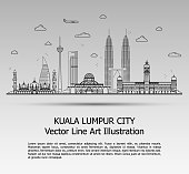 Line Art Vector Illustration of Modern Kuala Lumpur City with Skyscrapers. Flat Line Graphic. Typographic Style Banner. The Most Famous Buildings Cityscape on Gray Background.