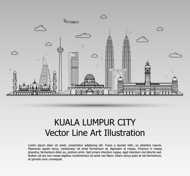 Line Art Vector Illustration of Modern Kuala Lumpur City with Skyscrapers. Flat Line Graphic. Typographic Style Banner. The Most Famous Buildings Cityscape on Gray Background. vector art illustration