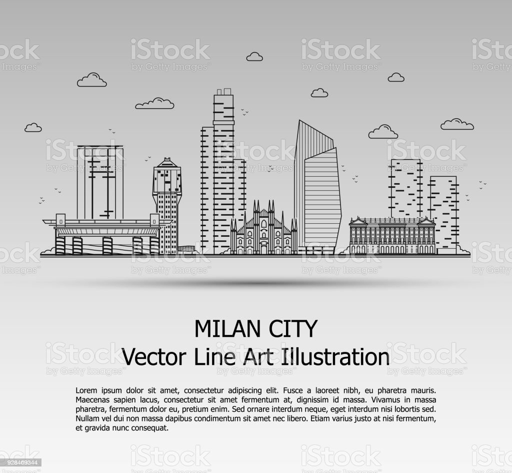 Line Art Vector Illustration of Modern Milan City with Skyscrapers. Flat Line Graphic. Typographic Style Banner. The Most Famous Buildings Cityscape on Gray Background.