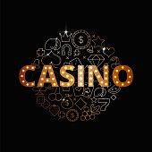 Line art vector set of Casino icons, symbols and items. Premium casino banner design. Shiny slot-machine illustration.