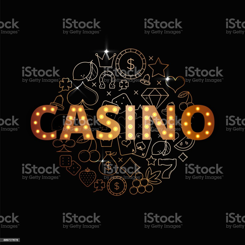 Line art vector set of Casino icons, symbols and items. Premium casino banner design. vector art illustration