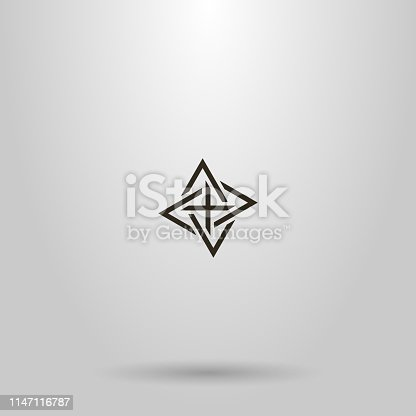 black and white simple line art vector sign of four intertwined triangles pointing different directions