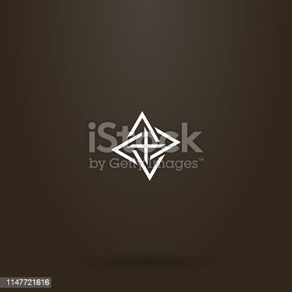 white sign on a black background. simple line art vector sign of four intertwined triangles pointing different directions