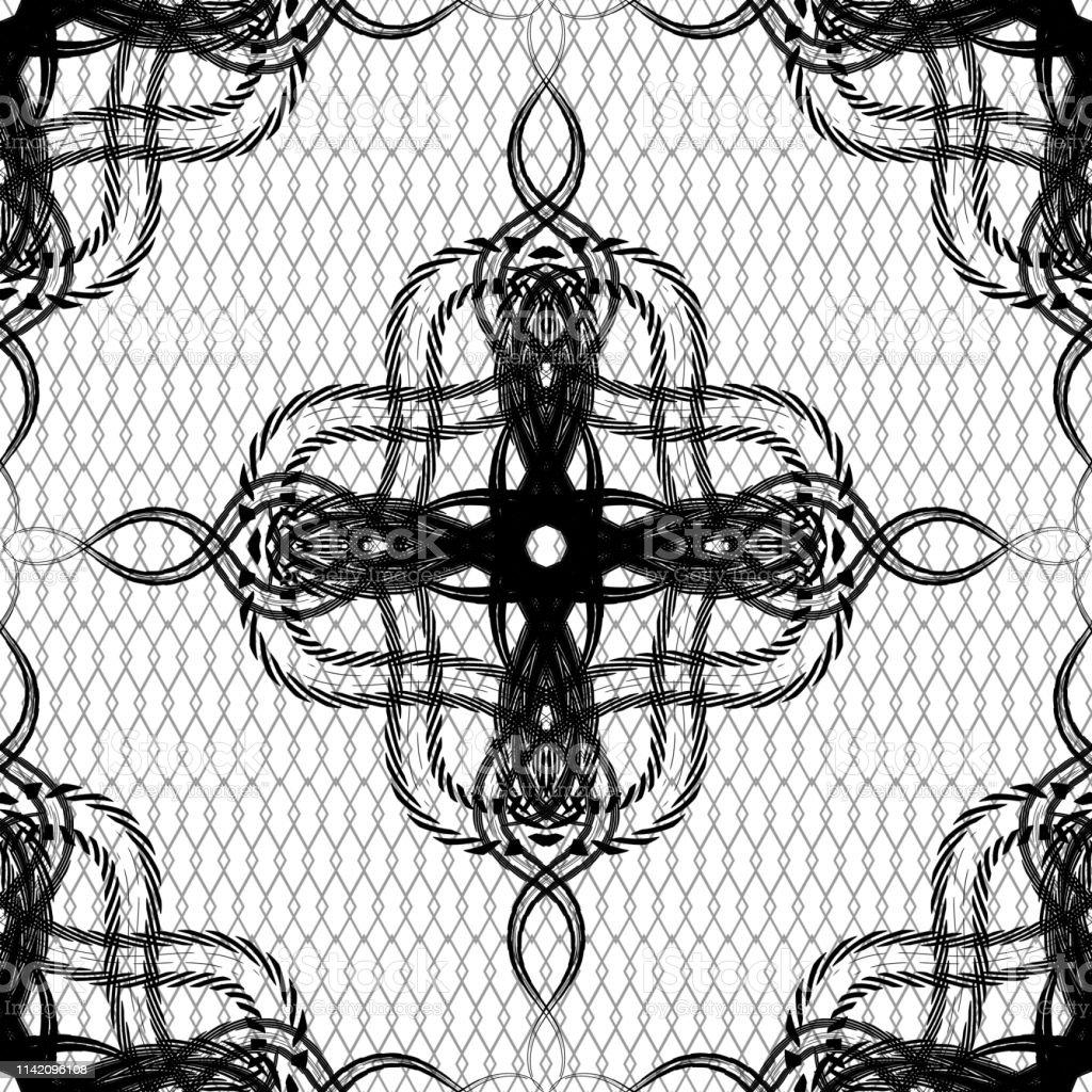 Line art vintage arabesque vector seamless pattern. Black and white...