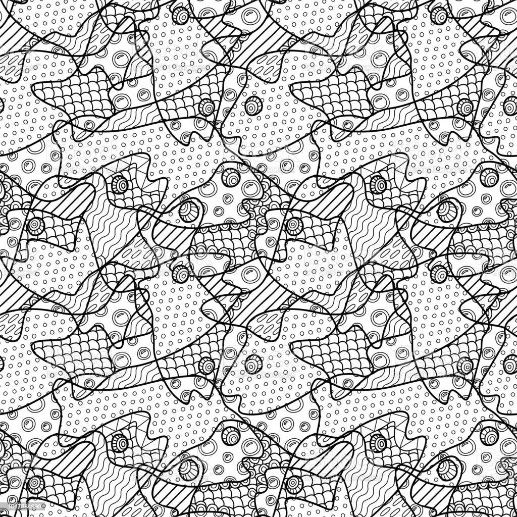 Beautiful black and white seamless pattern with decorative fish heads
