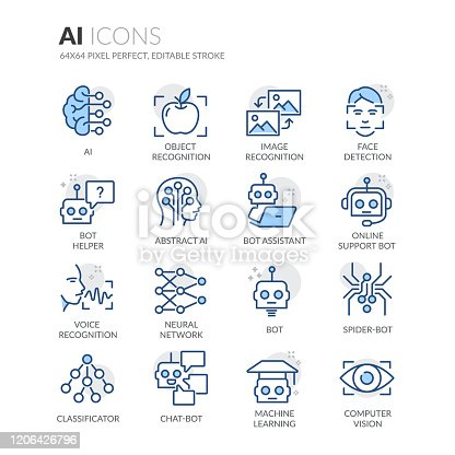 istock Line Artificial Intelligence Icons 1206426796