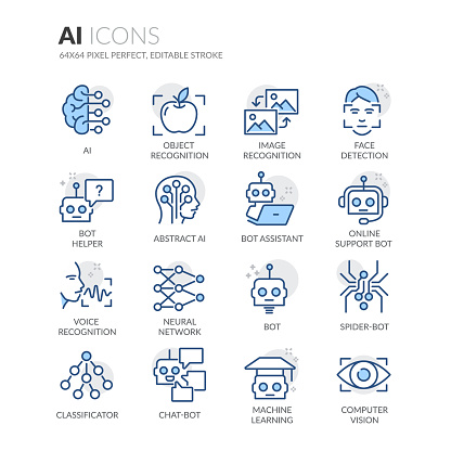 Line Artificial Intelligence Icons