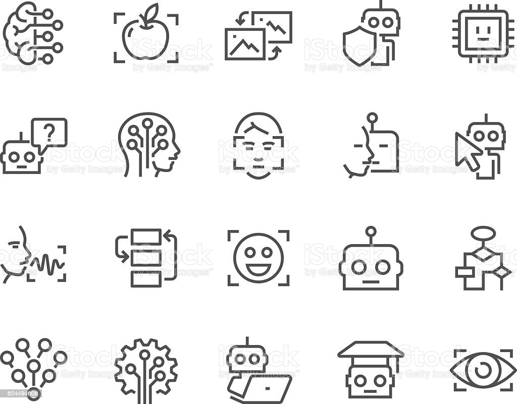 Line Artificial Intelligence Icons vector art illustration
