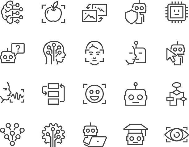 line artificial intelligence icons - robotics stock illustrations, clip art, cartoons, & icons