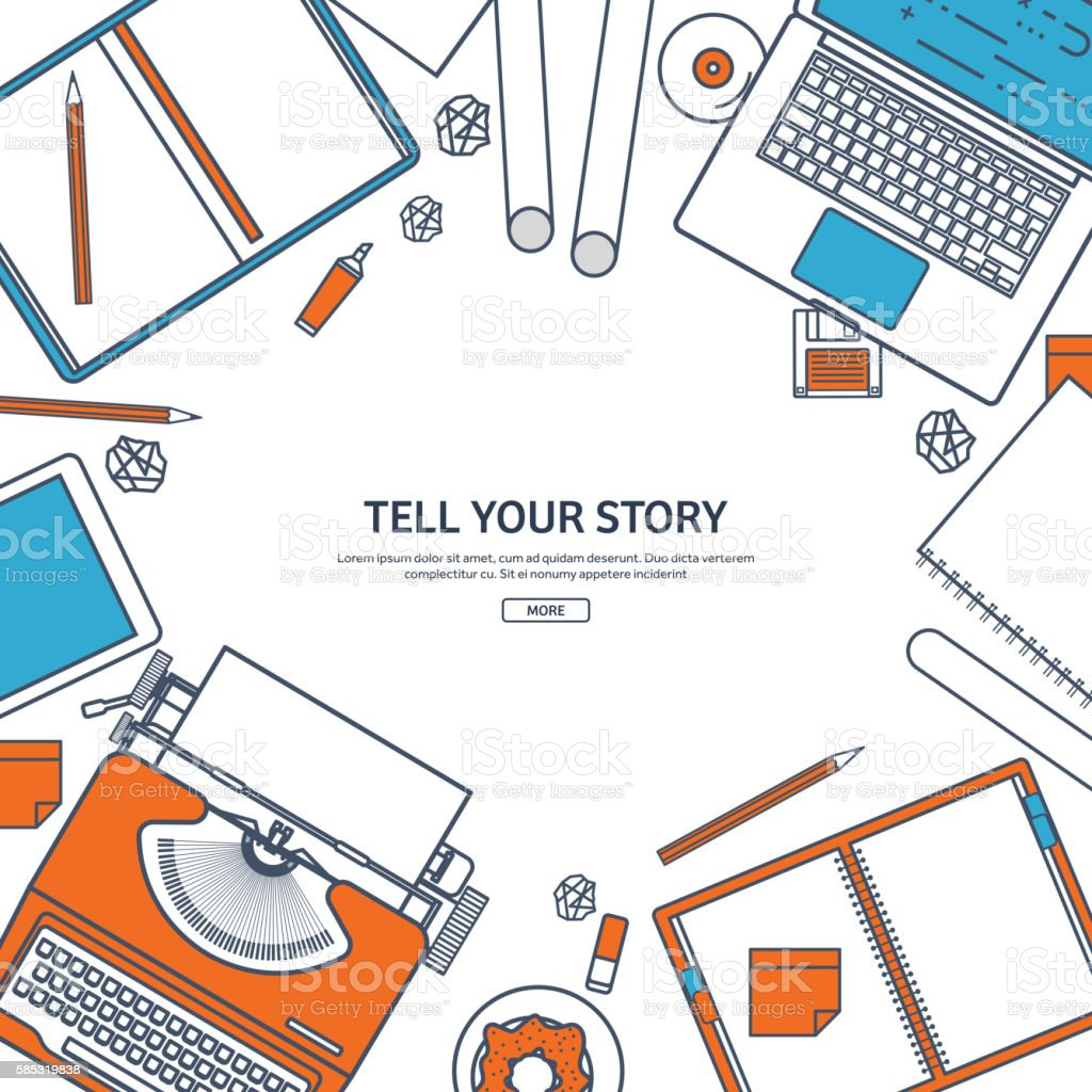 Line art.Vector illustration. Flat typewriter.Laptop. Tell your story vector art illustration