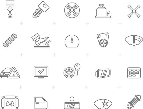 ilustraciones, imágenes clip art, dibujos animados e iconos de stock de línea auto service y el coche parte los iconos - pedal