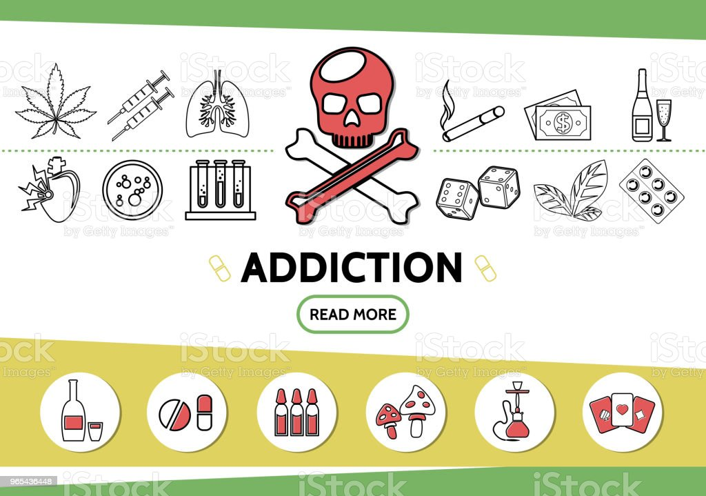 Line Bad Habits Icons Set royalty-free line bad habits icons set stock vector art & more images of addiction
