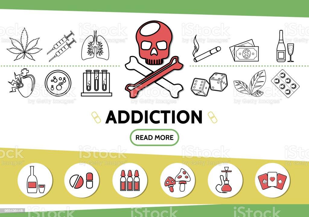 Linie schlechte Gewohnheiten Icons Set - Lizenzfrei Alkoholisches Getränk Vektorgrafik