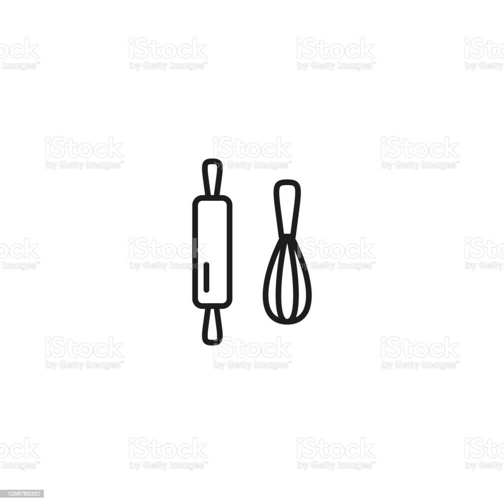 line baking thin icon on white background vector art illustration