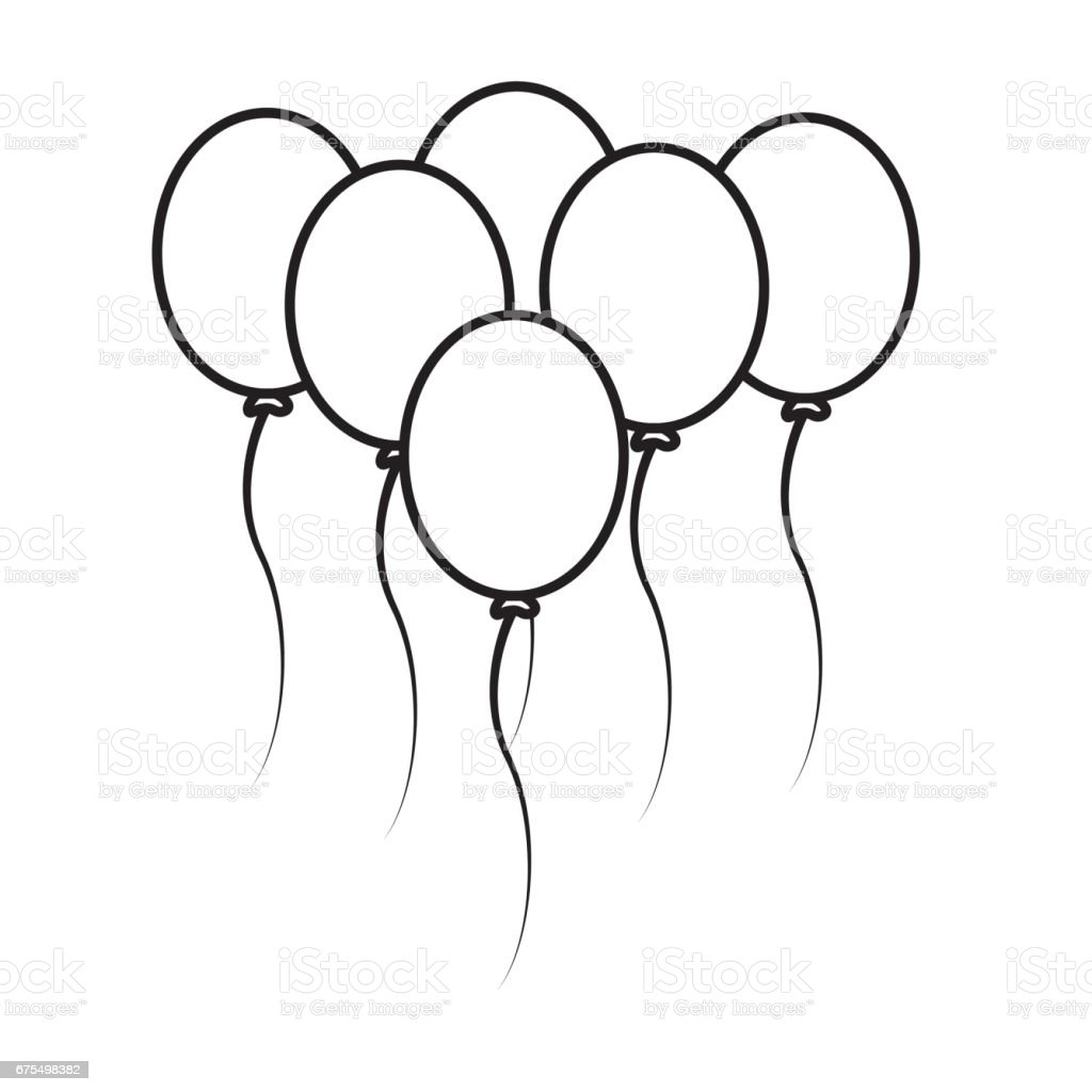 Line Balloons Party To Happy Birthday Decoration Royalty Free