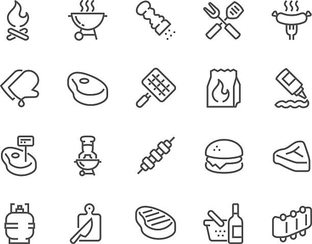 stockillustraties, clipart, cartoons en iconen met line barbecue icons - meat pan